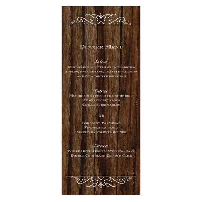 Cherry Wood Menu Card
