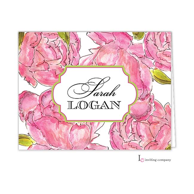 Peonies Folded Note