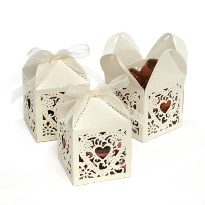 Square Decorative Favor Box – Ivory